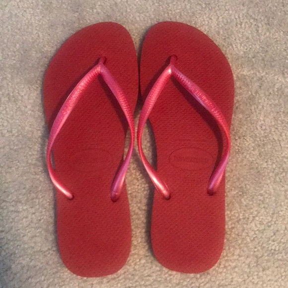 "947899c70227e0 Havaianas Shoes - Red Havaianas ""slim"" flip flops"